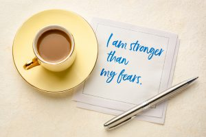 I am stronger than my fears - handwriting on a napkin with coffee and a pen. Affirmations for florida women for counseling for self confidence miramar, FL with Broward counselor, Enid.