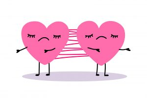 Two Hearts Connected By Net Slime Hand Drawn Vector Illustration in pink. Codependency treatment in Florida can help you heal yourself from a codependent relationship with a Broward counselor who provides support for women miramar, fl