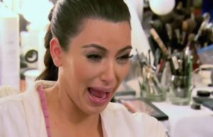 """Photo of Kim Kardashian making her """"ugly cry"""" face as an emotional release when you're feeling stress and anxiety as a woman in Florida with a Broward Counselor with online therapy in Florida."""